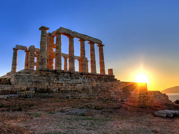Sunset at Cape of Sounion